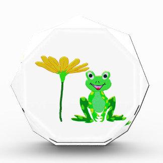 kleiner Frosch und gelbe Blume Auszeichnung