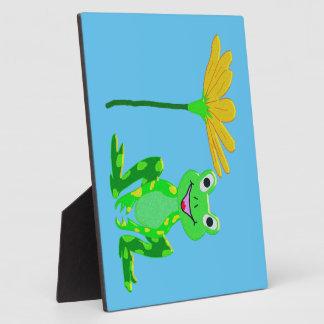 kleiner Frosch und gelbe Blume Fotoplatte