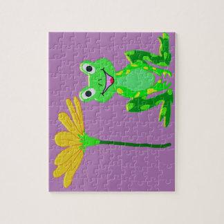 kleiner Frosch und gelbe Blume Puzzle
