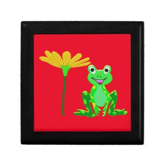 kleiner Frosch und gelbe Blume Schmuckschachtel