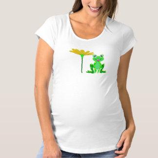 kleiner Frosch und gelbe Blume Schwangerschafts T-Shirt