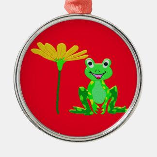 kleiner Frosch und gelbe Blume Silbernes Ornament