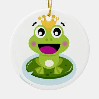 Kleiner grüner Frosch glücklich Keramik Ornament