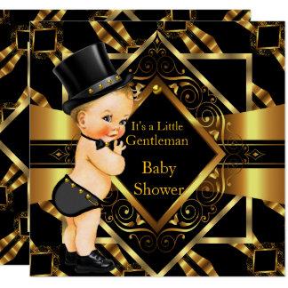 Kleiner Herr-Babyparty-Goldschwarz-Blondinen-Junge Karte