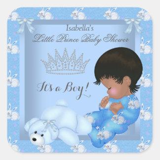 Kleiner Jungen-blaues Häschen morgens Quadratischer Aufkleber