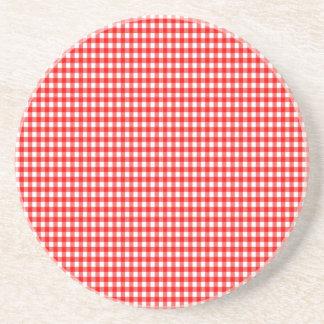 kleiner Karo roter und weißer Gingham Getränkeuntersetzer