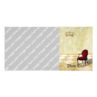 Kleiner königlicher Stuhl mit Krone Photogrußkarten