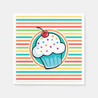 Kleiner Kuchen; Helle Regenbogen-Streifen Papierserviette