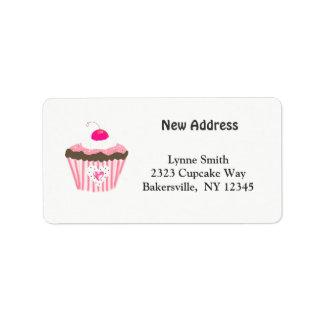 Kleiner Kuchen mit Herz-neuer Adresse Adress Aufkleber