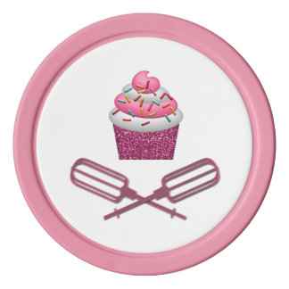 Kleiner Kuchen u. gekreuzte Schläger im Rosa Pokerchips