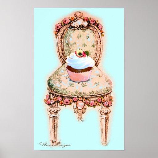 Kleiner Kuchen und viktorianisches Stuhl-Plakat