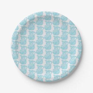 Kleiner Pappteller mit Aquakrugentwurf