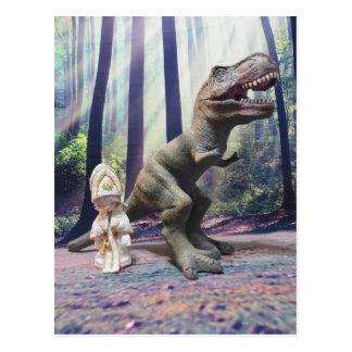 Kleiner Papst und das Tyrannasaurus Rex Postkarte