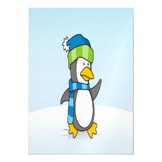 Kleiner Pinguin, der auf Schnee geht Magnetische Karte