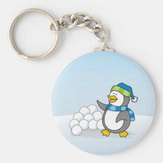 Kleiner Pinguin mit dem Schneeballwellenartig Schlüsselanhänger