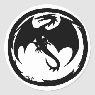 Kleiner runder Aufkleber des schwarzen Drachen