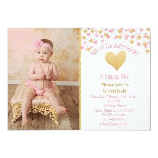 Kleiner Schatz-erste Geburtstags-Foto-Einladung 12,7 X 17,8 Cm Einladungskarte