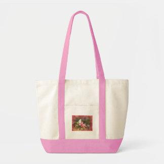 Kleiner Schmetterling auf rosa Blume Leinentasche