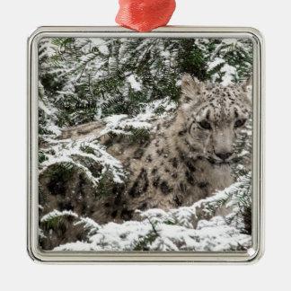Kleiner Schneeleopard Silbernes Ornament