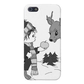 kleiner Schwarzweiss-Junge, der Ren füttert Etui Fürs iPhone 5