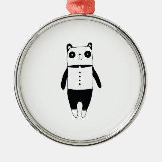 Kleiner Schwarzweiss-Panda Silbernes Ornament