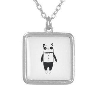 Kleiner Schwarzweiss-Panda Versilberte Kette