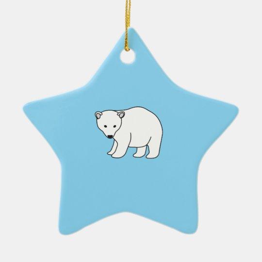 kleiner, süßer Eisbär Keramik Stern-Ornament