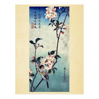 Kleiner Vogel auf einer Niederlassung durch Andō, Postkarte