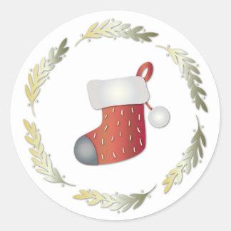 Kleiner WeihnachtsWreath u. Strumpf-runder Runder Aufkleber