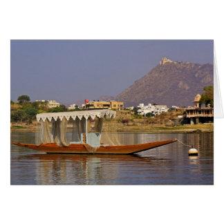 Kleines Boot, See Pichola, Udaipur, Indien Grußkarte
