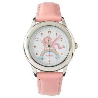 Kleines Einhorn mit Stern auf Regenbogen-Rosa-Uhr Armbanduhr