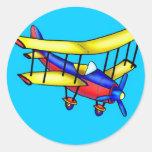 Kleines Flugzeug Runder Aufkleber