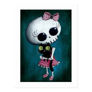 Kleines Fräulein Death - Halloween-Schönheit Postkarte