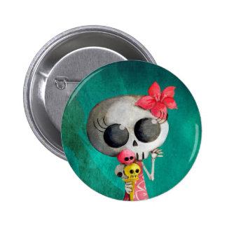Kleines Fräulein Death mit Halloween-Eiscreme Runder Button 5,1 Cm