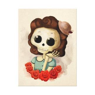 Kleines Fräulein Death und Rosen Leinwanddrucke