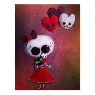 Kleines Fräulein Death Valentine Girl Postkarten