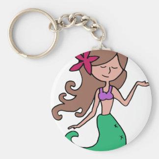 Kleines Fräulein Mermaid - brünettes Haar Schlüsselanhänger