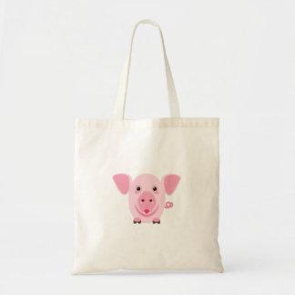 Kleines glückliches niedliches rosa Schwein Tragetasche