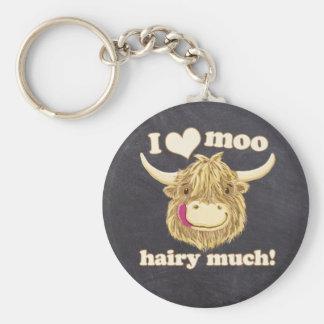 Kleines Hamish Liebe-MOO haarig viel! Hochland-Kuh Standard Runder Schlüsselanhänger