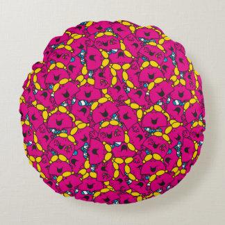 Kleines helles rosa Muster Fräulein-Chatterbox | Rundes Kissen