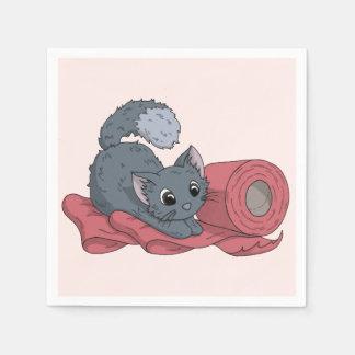 Kleines Kätzchen auf Band Serviette