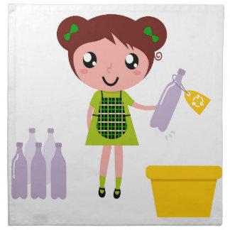 Kleines künstlerisches Mädchen mit Flasche Stoffserviette