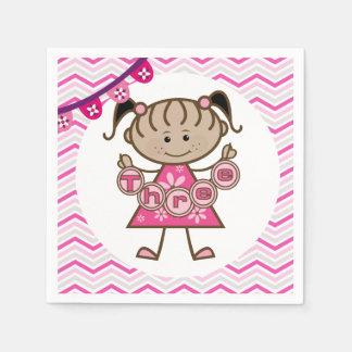 Kleines Mädchen-3. Geburtstags-Papierservietten Papierservietten