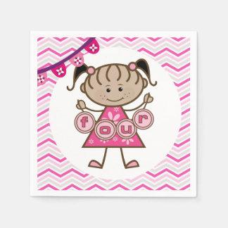 Kleines Mädchen-4. Geburtstags-Papierservietten Papierserviette