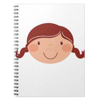 Kleines Mädchen auf Weiß Spiral Notizblock