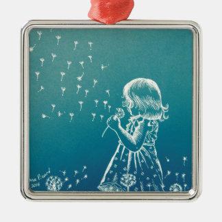 Kleines Mädchen, das auf einem Löwenzahn Quadratisches Silberfarbenes Ornament