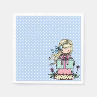 Kleines Mädchen-Geburtstags-Party-blaue Serviette