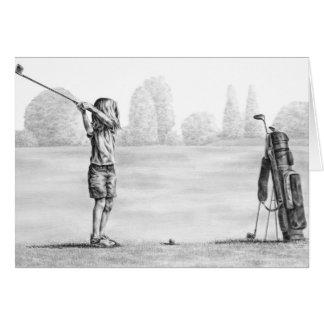 Kleines Mädchen-Golfspieler, der durch Kelli Schwa Karten