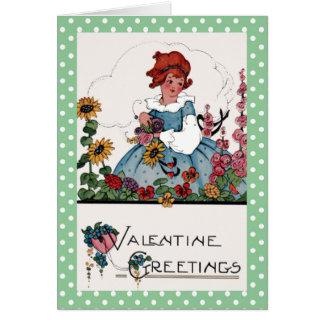 Kleines Mädchen im Garten-Valentinsgruß Karte