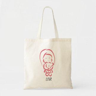 Kleines Mädchen mit Bärn-Taschentasche Tragetasche